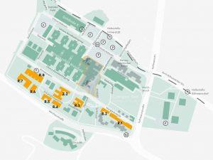 """Die Karte zeigt den Campus Süd der Universität Bielefeld mit allen zukünftigen Gebäuden der Medizinischen Fakultät. Diese sind mit einem """"R"""" und einer fortlaufenden Nummerierung benannt."""