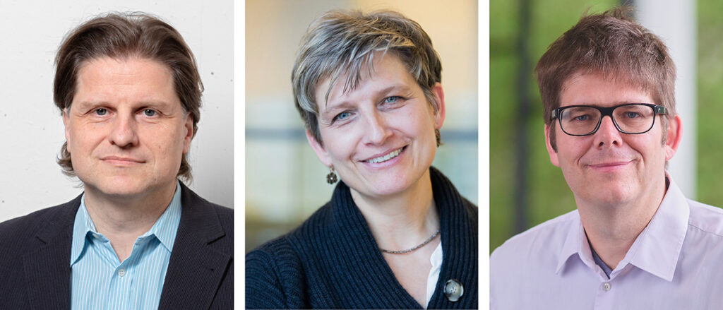 Bilder der Personen: Ökonom Prof. Dr. Herbert Dawid, Juristin Prof' in Dr. Sabine Gless und Ökonom Prof. Dr. Gerd Muehlheusser